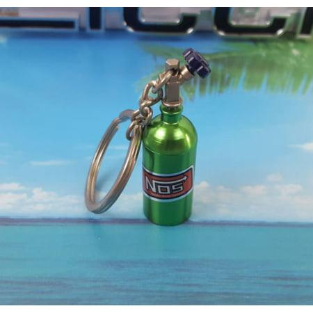 NOS Mini Green Nitrous Oxide Systems Turbo Bottle Keychain Keyfob Storage