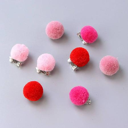 Boburyl 1 Pair Kids Pom Pom Ear Clip Plush Ball Kid Girls Children Clip No Piercing Earrings Jewelry
