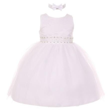 RainKids Baby Girls White Pearl Diamond Accent Tulle Flower Girl Dress](Baby Girls Flower Girl Dresses)