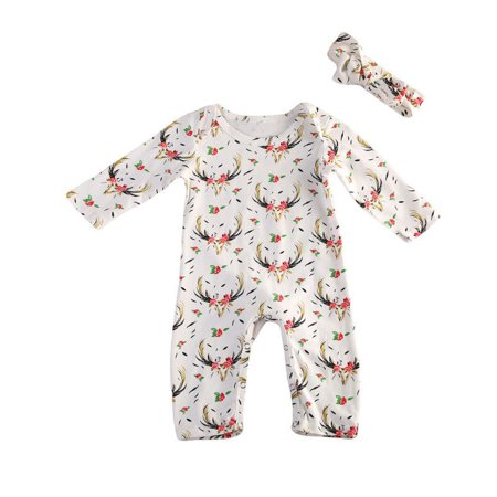 Casual Clothes For Girls (Baby Girl Deer Floral Long Sleeve Romper Bodysuit Casual Clothes Outfit Set)