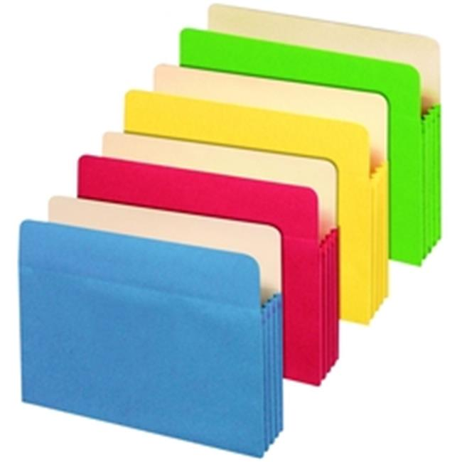 Globe-Weis 1534G5 ASST Colored File Pockets, 5. 25 in , Assorted, Letter, 5 per PK 1 each of Blue, Green, Red, Yellow