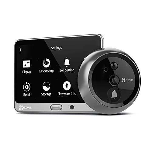 EZVIZ Lookout DP1 HD Video Smart Home Door Viewer with Rechargeable Battery, Built-in Doorbell, Human Detection, WiFi Enabled, LED Touch Screen, Remote Viewing, Two-Way Talk (iOS & Android Compatible)