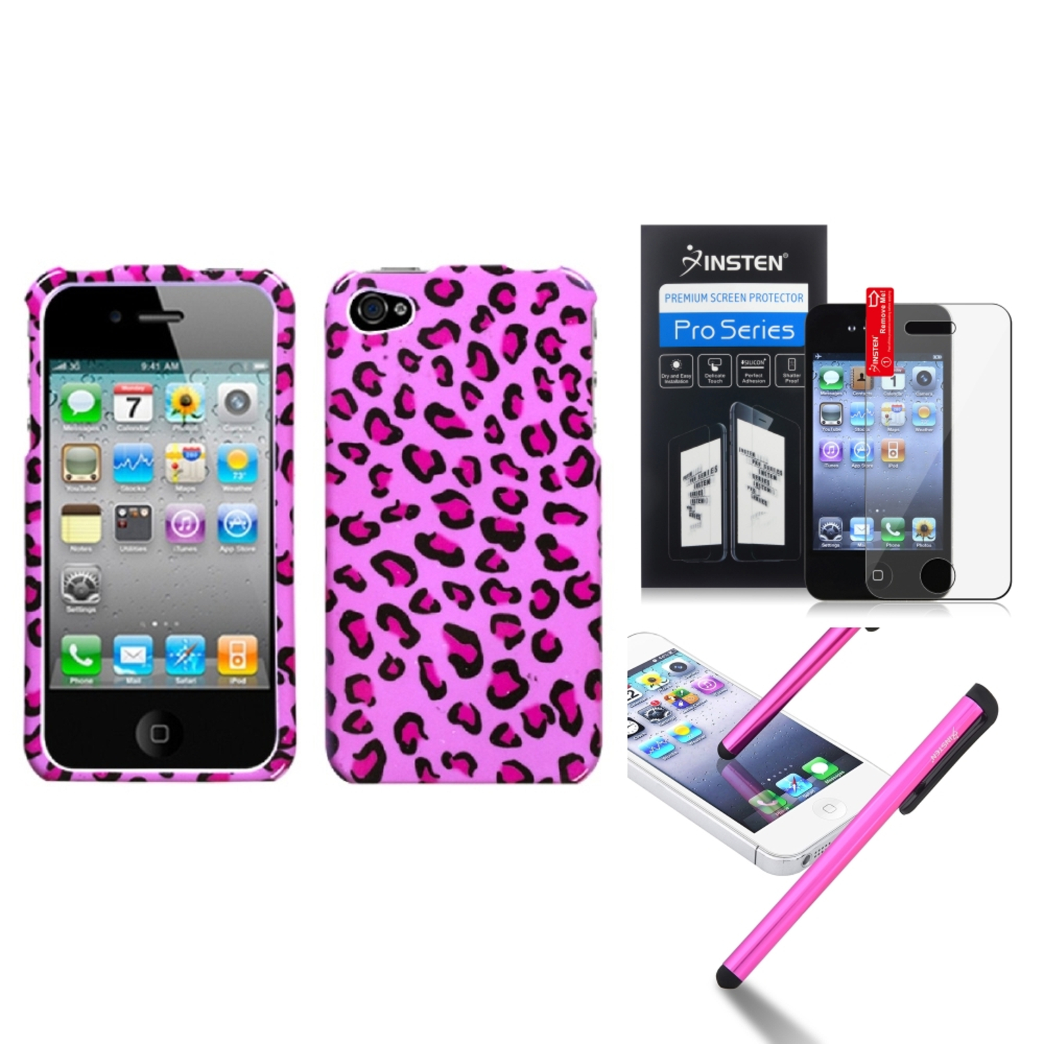 Insten Pink Leopard Skin Phone Case Cover Protector Stylus For APPLE iPhone 4S/4
