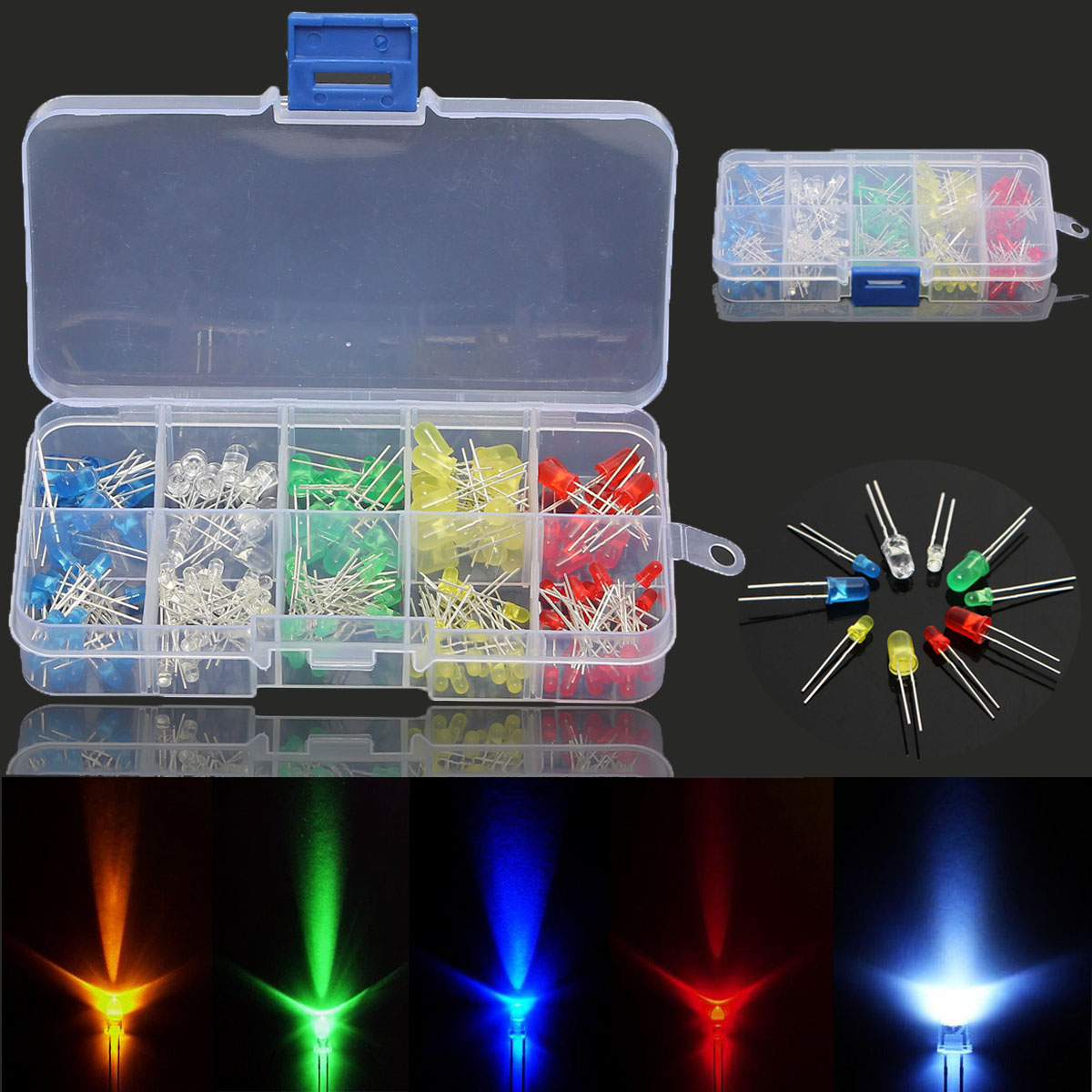 375pcs Emitting Diode 3,5mm LED Bulbs Lamp White Green Red Blue Yellow