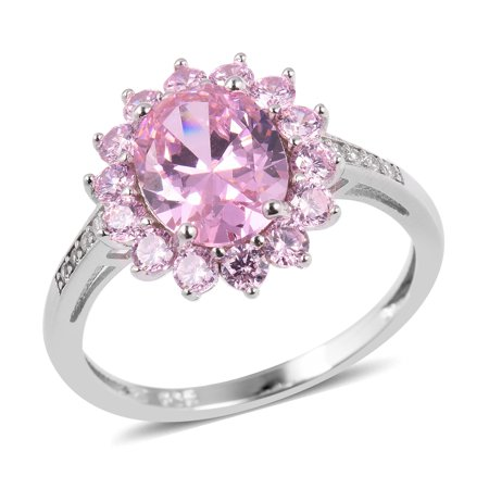 Pink Zircon Ring - Statement Ring Silver Cubic Zircon Pink White Cubic Zirconia CZ Gift Jewelry for Women Cttw 5.3 (10,11,5,6,7,8,9)