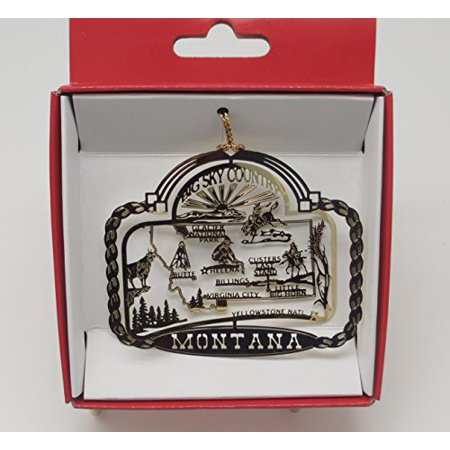 Montana Big Sky Country Brass State Christmas Ornament Yellowstone Billings Glacier National Park + More