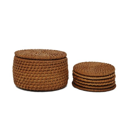 Set of 6 Vintage Handmade Knit Bamboo Rattan Straw Coasters with (Stunning Handmade Coasters)