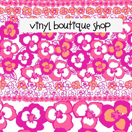 Pansy Pink Floral Orange Lilly Inspired Printed Patterned Craft Vinyl
