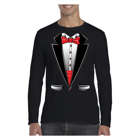 Funny Costume Tuxedo Bow Tie Men Softstyle Long Sleeve T-Shirt (Funny Costumes Men)