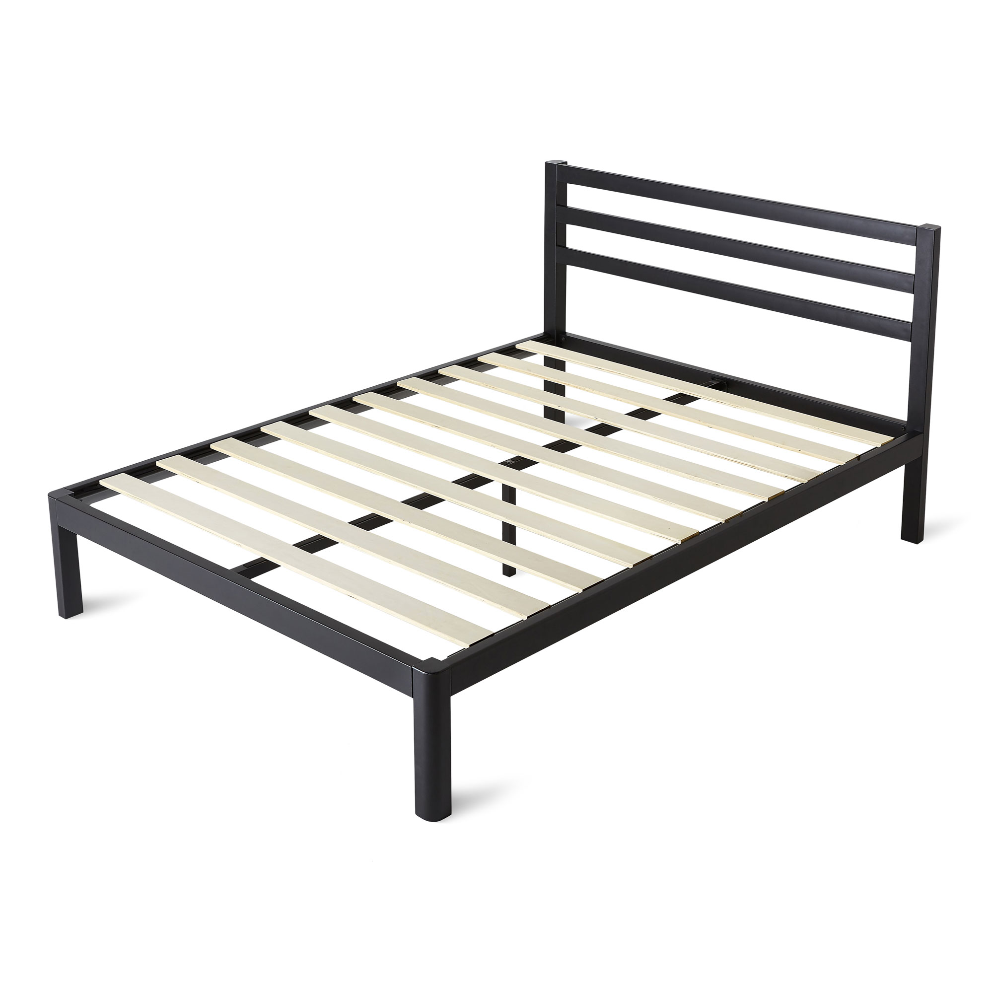 intelliBASE Queen Size Wooden Slat Black Metal Platform Bed Frame with Headboard