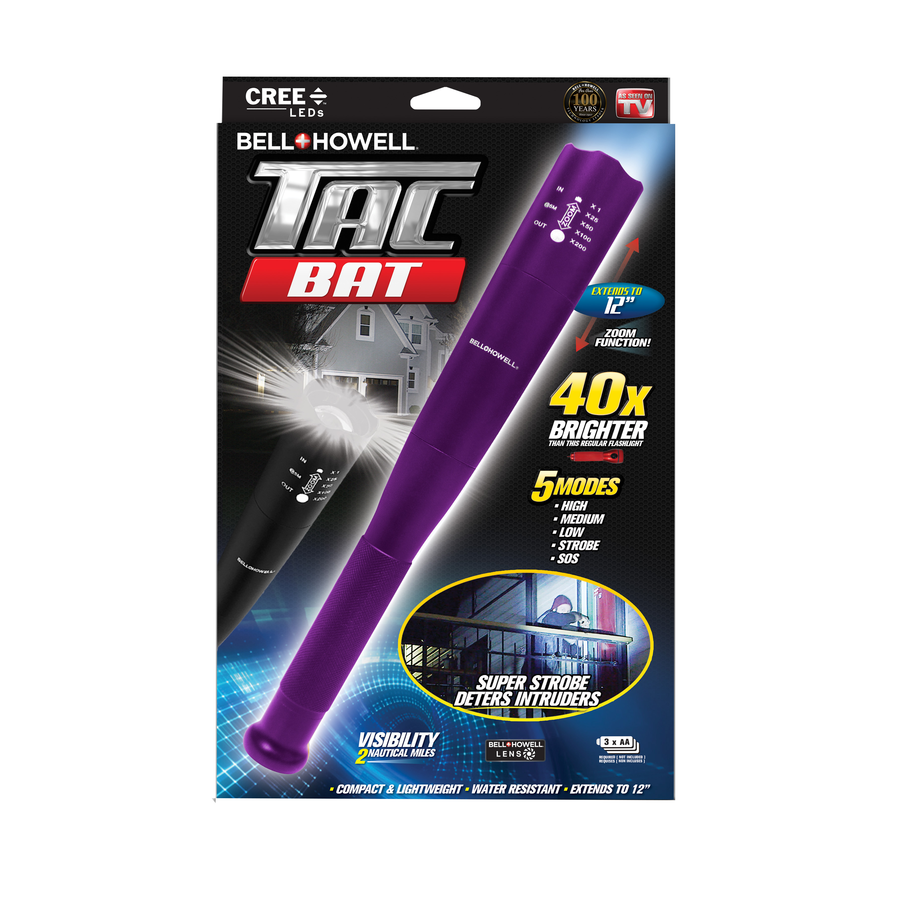 Bell + Howell Tac Bat Military Grade High Performance Tactical Flashlight & Bat, As Seen on TV! Black