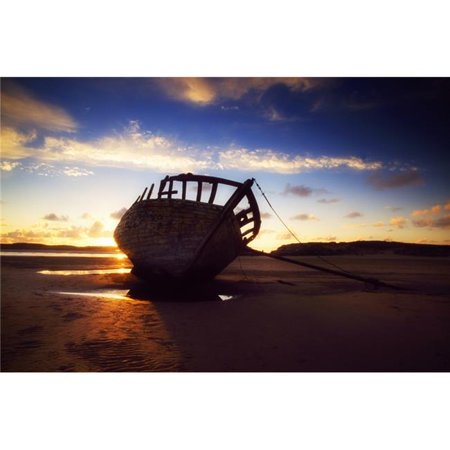 Shipwreck At Sunset Co Donegal Ireland Poster Print by The Irish Image Collection, 36 x 24 - Large - image 1 de 1