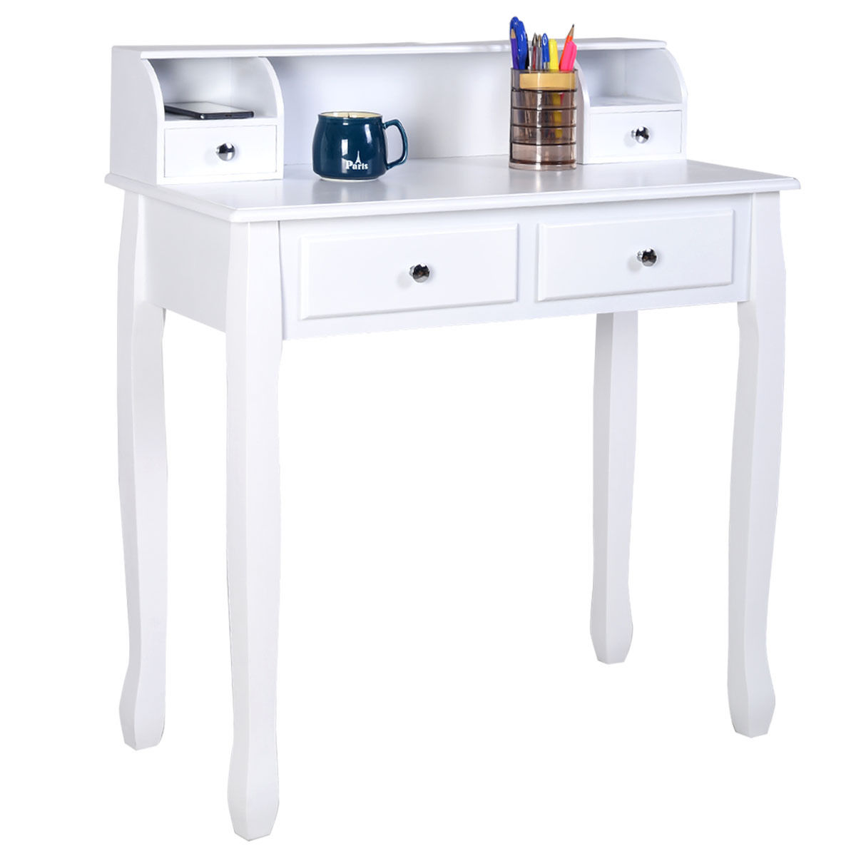 writing desks for home office. Costway Writing Desk Mission White Home Office Computer 4 Drawer Desks For