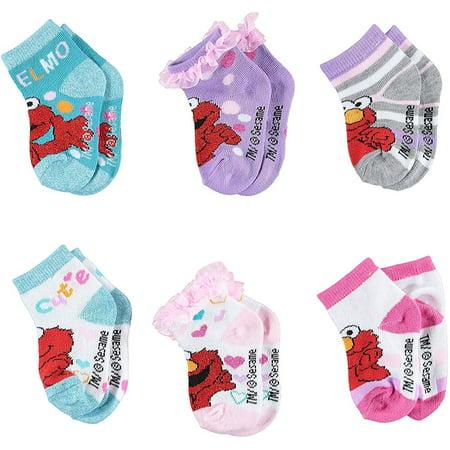 Sesame Street Girls Quarter Socks - Elmo, Cookie Monster, Ernie, Bert, Oscar the Grouch, Grover & Big Bird - Kids 6-Pair Set for $<!---->