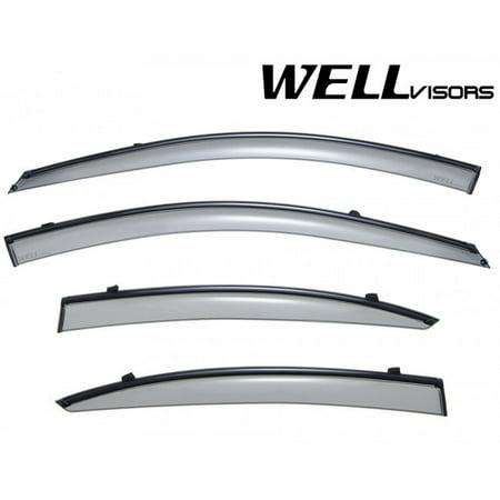 WellVisors Replacement for 2006-2011 Hyundai Accent Sedan Black Trim Smoke Tinted Side Rain Guard Window Visors Deflectors
