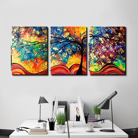 3 Panels Colored Money Trees Spray Oil Paintings Wall Art Pictures Home  Decorations