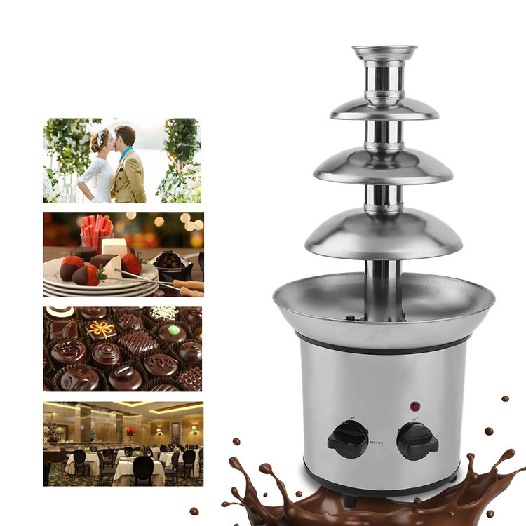 4 Tiers Chocolate Fountain, Commercial Stainless Steel Event Wedding Children Birthday Home Chocolate Fondue... by YKS