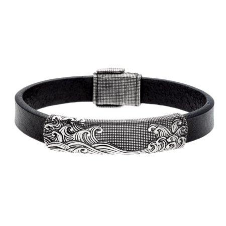 David Yurman Pre Owned Sterling Silver And Black Leather Waves Estate Bracelet