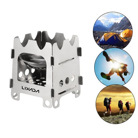 Lixada Outdoor Camping Stove Portable Ultralight Folding Stainless Steel Wood Stove Pocket Alcohol Stove with Alcohol Tray Camping Fishing Hiking Backpacking with A Tray to Hold Solid Alcohol