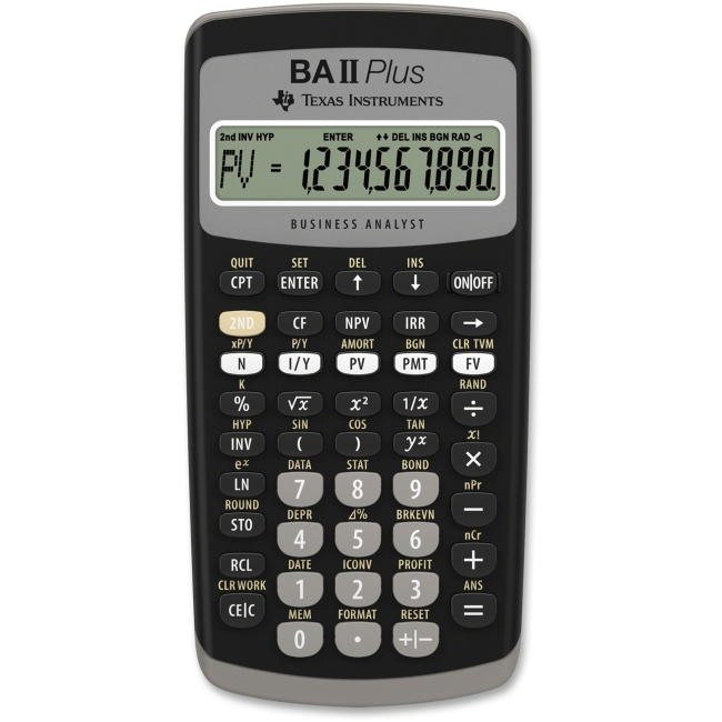 Texas Instruments BA-II Plus Adv. Financial Calculator - Power OFF Memory Protection - 1 Line(s) - 10 Digits - LCD - Bat