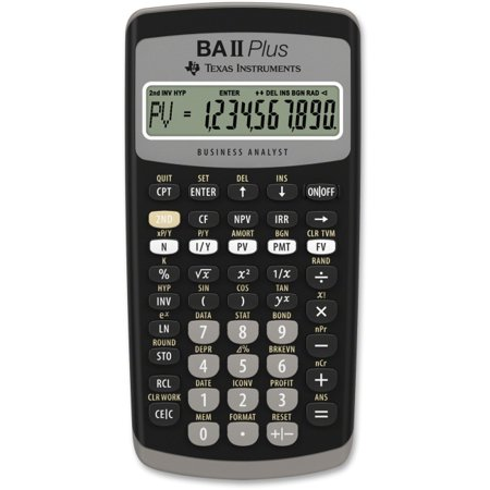 Texas Instruments Ba Ii Plus Adv  Financial Calculator   Power Off Memory Protection   1 Line S    10 Digits   Lcd   Bat