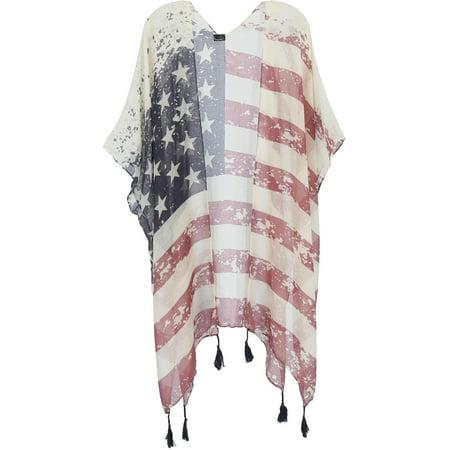 Size one size Women's American Flag Print Kimono Wrap, White