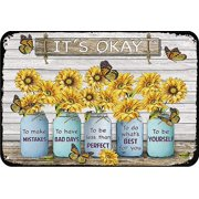 Sunflower It's Okay to Make Mistakes Funny Metal Novelty Sign Metal Retro Wall Decor for Home,Street,Gate,Bars,Restaurants,Cafes,Store Pubs Sign Gift 12 X 8 INCH Metal Sign