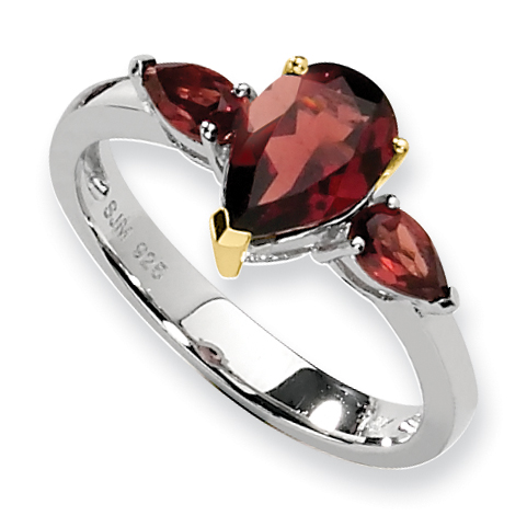 Sterling Silver & 14K Garnet Ring QR2612 by Mother's Day