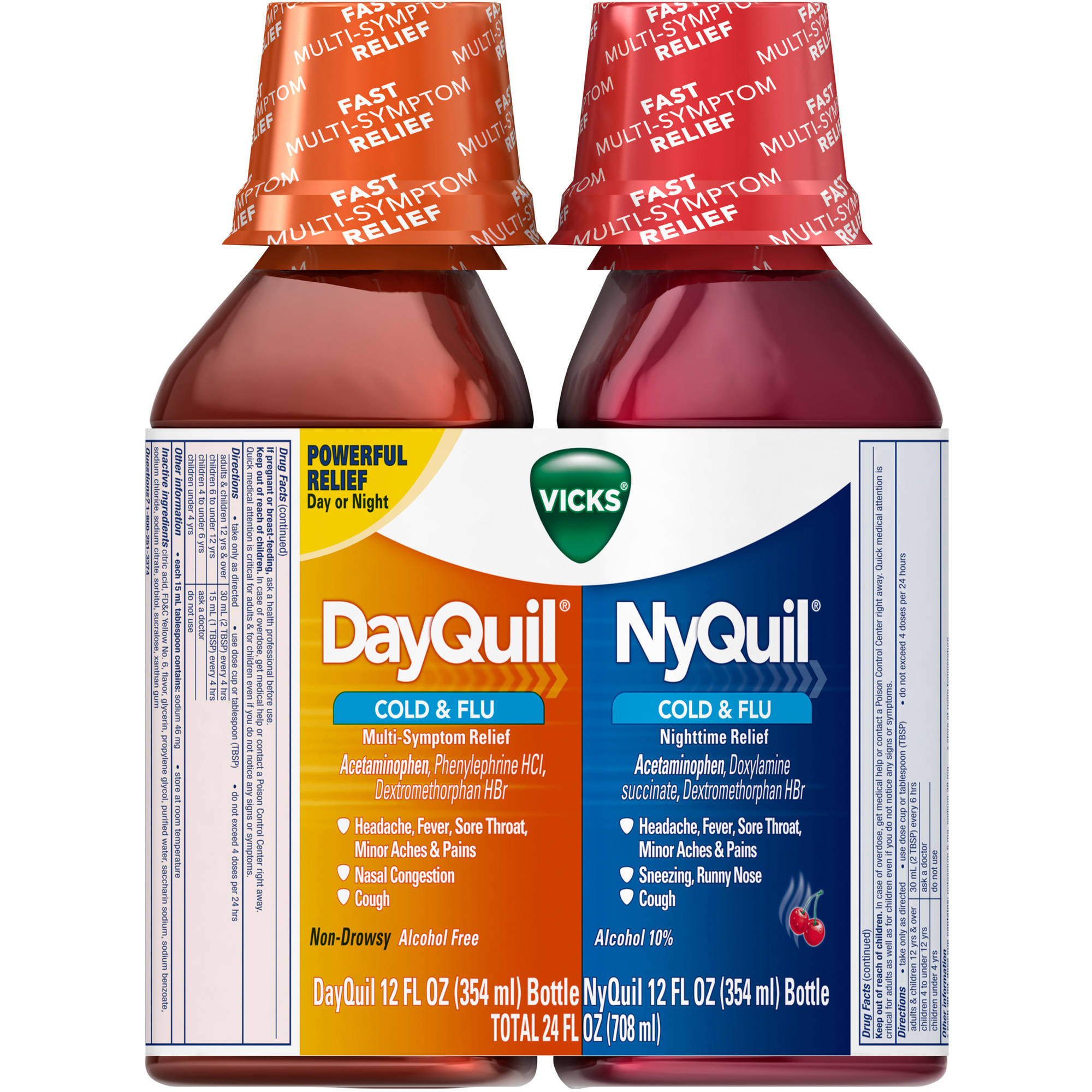 Vicks DayQuil & NyQuil Cold & Flu Liquid Cold Medicine Combo Pack, 12 fl oz, 2 count