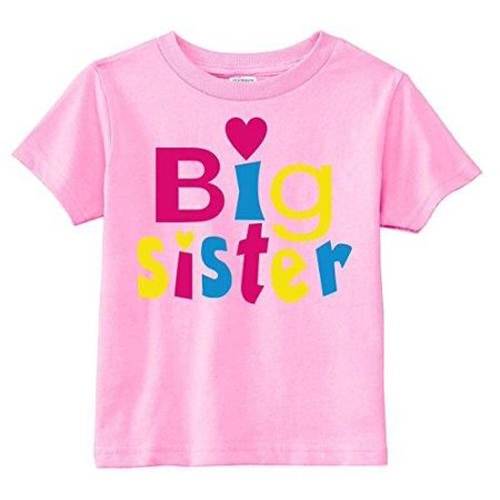 Lil Shirts Little Girls Big Sister Heart Youth & Toddler Graphic Tee~2T / Pink ()