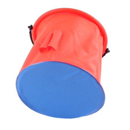Unique Bargains 5.7  x 5.5 Plastic Cylinder Shape Portable Folding Water Bucket Camping Outdoor Fishing Hot Pink Blue - image 1 of 4