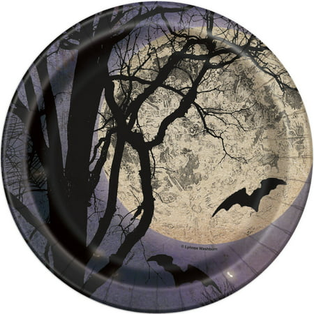 Spooky Night Halloween Party Plates, 7 in, 8ct - Spooky Halloween Menu Dinner