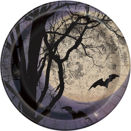 Spooky Night Halloween Party Plates, 7 in, 8ct - Last Minute Halloween Party Food