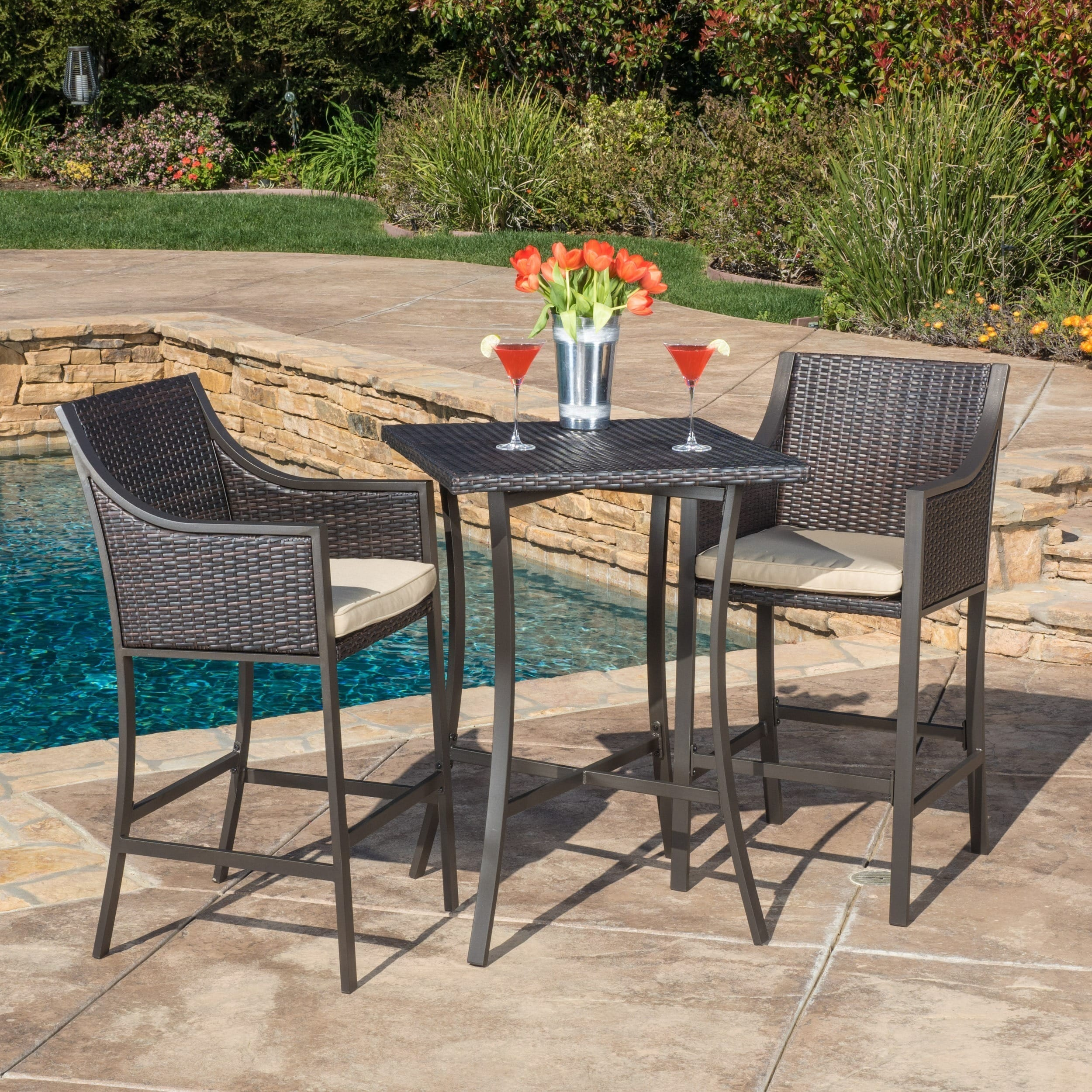 Christopher Knight Home Riga Outdoor 3-piece Wicker Bistro Bar Set with Cushion by