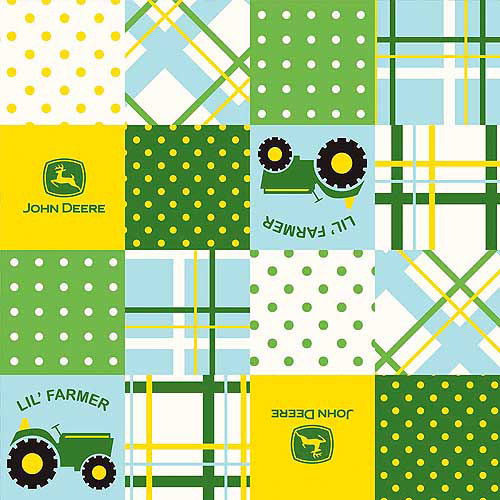 """John Deere Juvenile Lil Farmer Patch, Green, 43/44"""" Wide, Fabric by the Yard"""