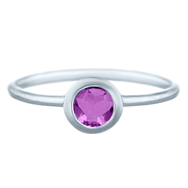 1.86 tcw Brilliant Round Cut Natural Amethyst Bezel Set Ring Solid 14k White Gold by J&H Jewelers