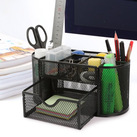 - Office School Home/Teacher Supplies Mesh Desk Pen Organizer. Comes W/ 4 Pencil Cups For Highlighters/Pens/Sharpie, 4 Square Compartments For Paper Clips/Sticky Notes & 1 Supply Drawer (Black)