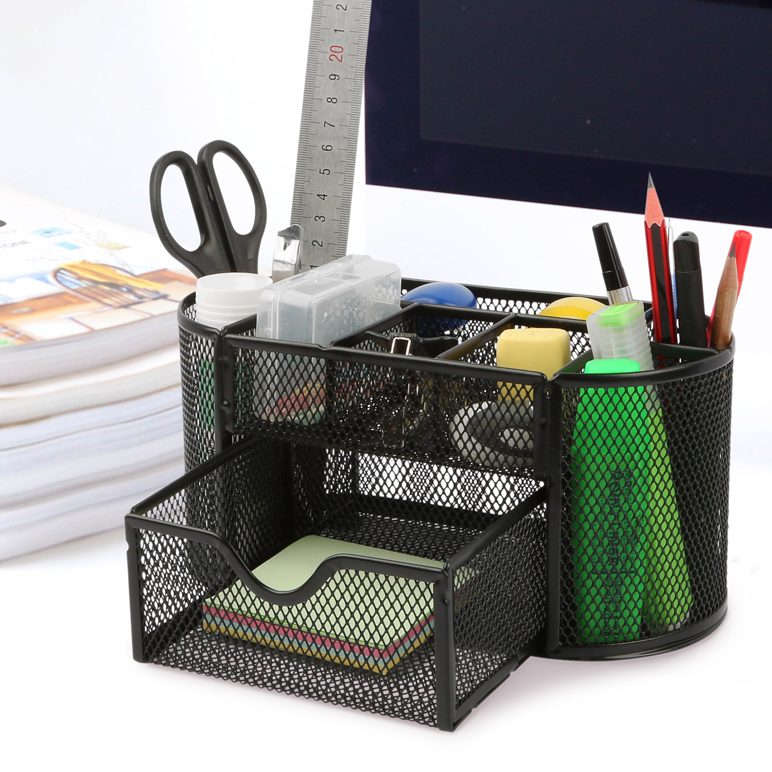 Office School Home/Teacher Supplies Mesh Desk Pen Organizer. Comes W/ 4 Pencil Cups For Highlighters/Pens/Sharpie, 4 Square Compartments For Paper Clips/Sticky Notes & 1 Supply Drawer (Black)