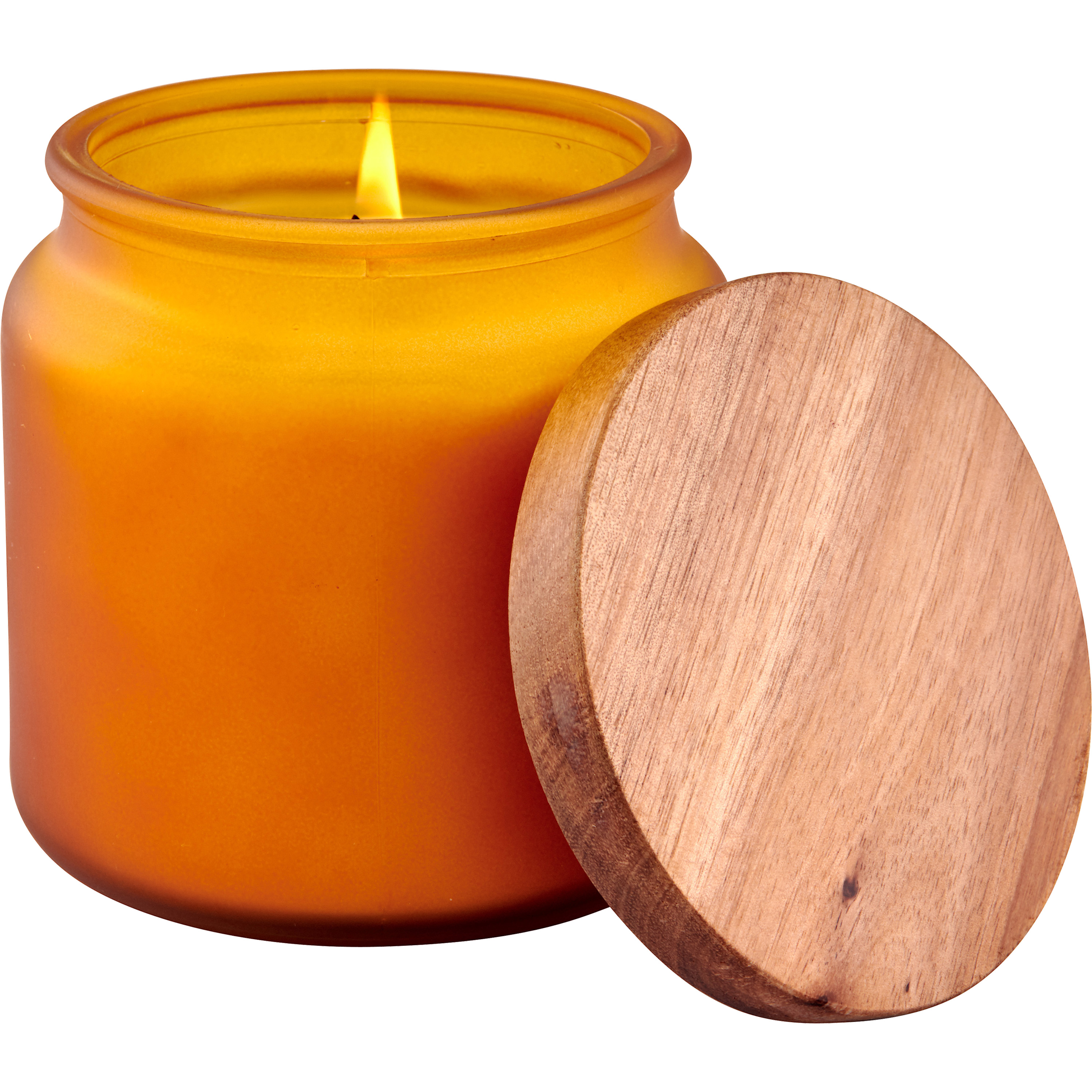 Better Homes & Gardens Golden Yellow Frosted Glass Single-Wick Candle with Wooden Lid, Soft Cashmere Amber