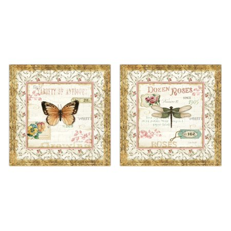 - Beautiful French Country Butterfly, Dragonfly and Floral Print Set by Lisa Audit; Two 12x12in Unframed Paper Posters