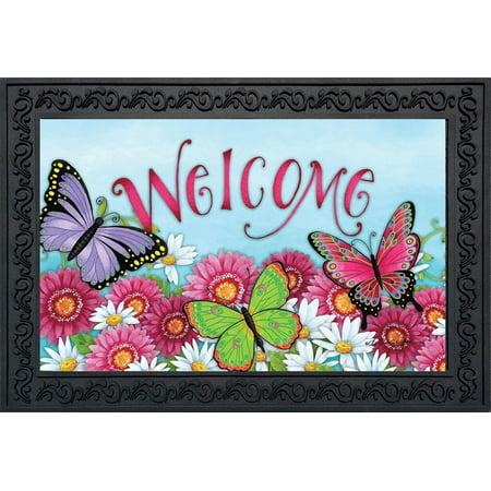 Butterfly Welcome Spring Doormat Floral Indoor Outdoor 18