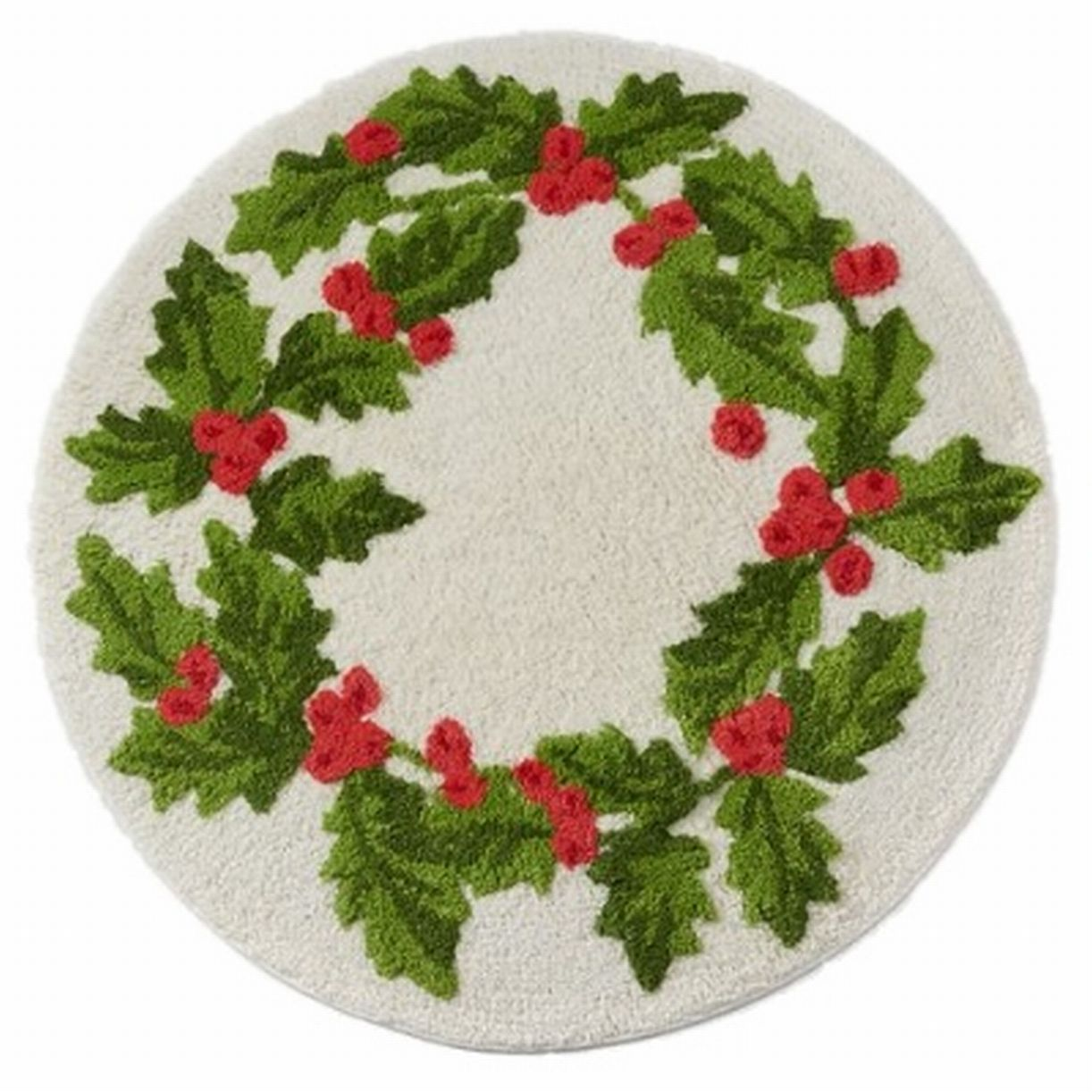 "St Nicholas Square Holly Berry Throw Rug Green 24"" Round Bath Mat"