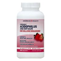 American Health Natural Strawberry Flavor Chewable Wafers Acidophilus and Bifidum, 100 ea (Pack of 3)