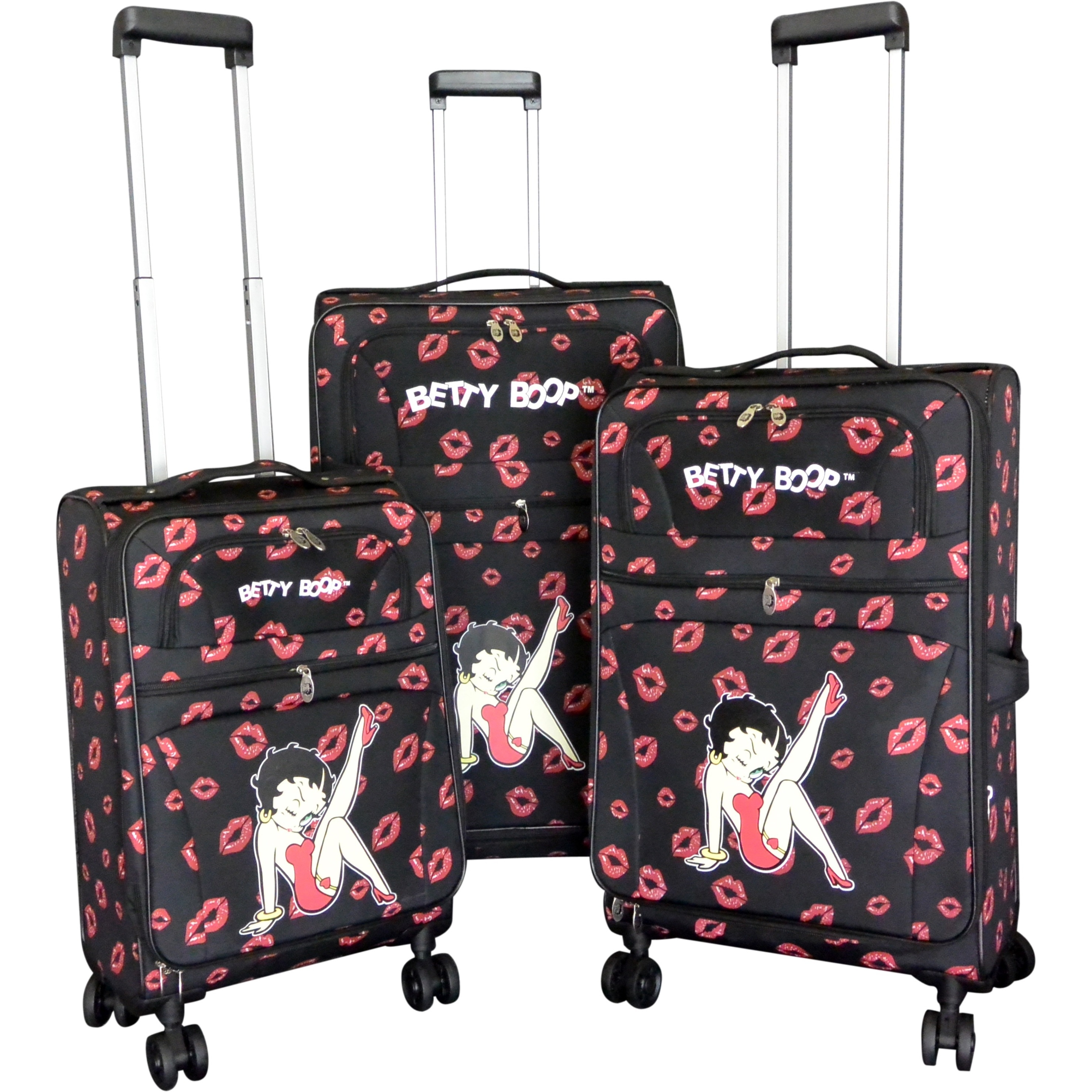 28 24 20 Betty Boop Black 3-piece Expandable Spinner Luggage Set