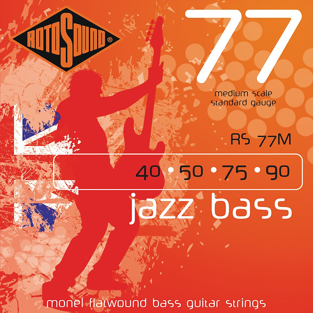 Click here to buy Rotosound RS77M Jazz Bass Monel Flat Wound Strings by Rotosound.