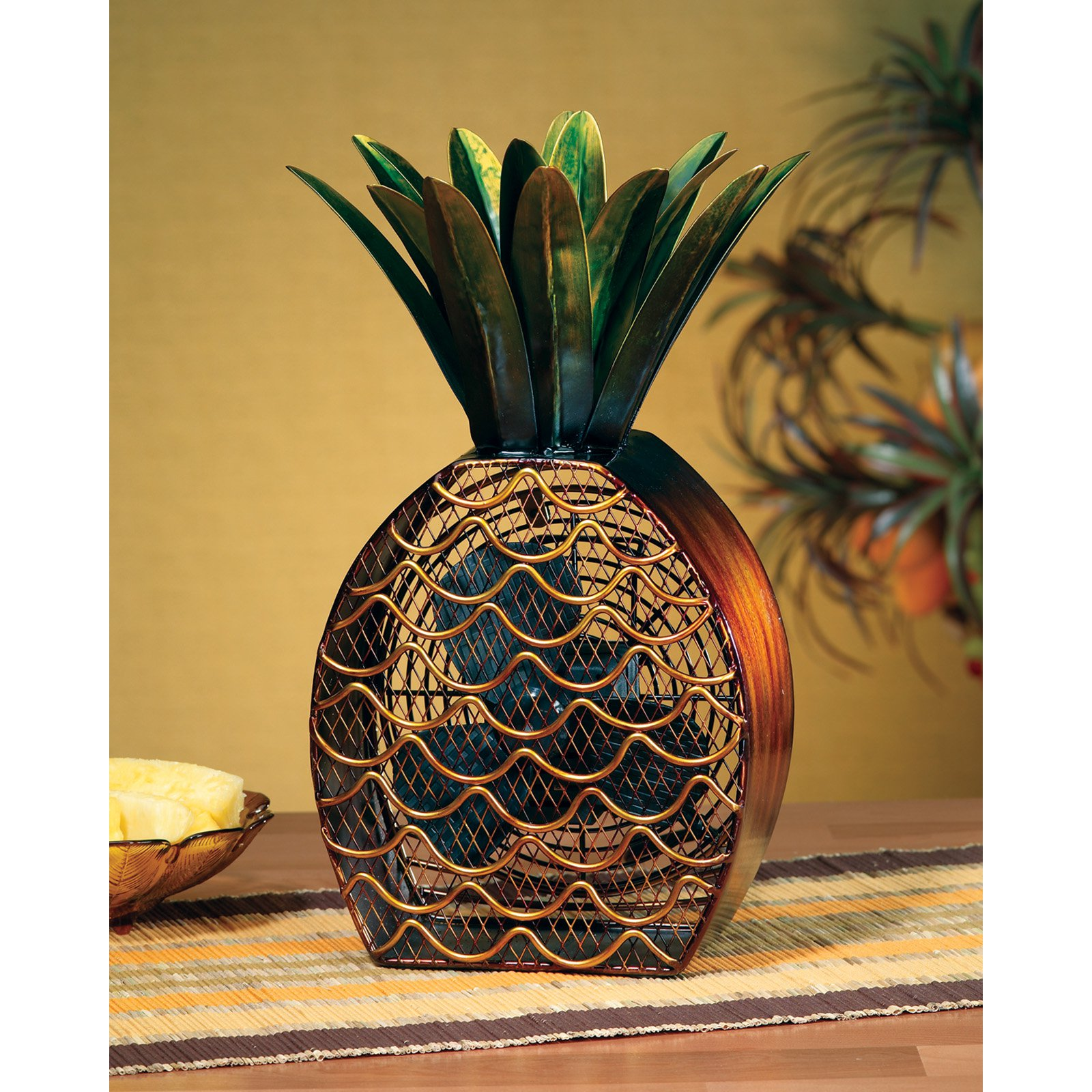 DecoFLAIR Table Fan Two - Speed Electric Circulating Fan, Pineapple Figurine Fan