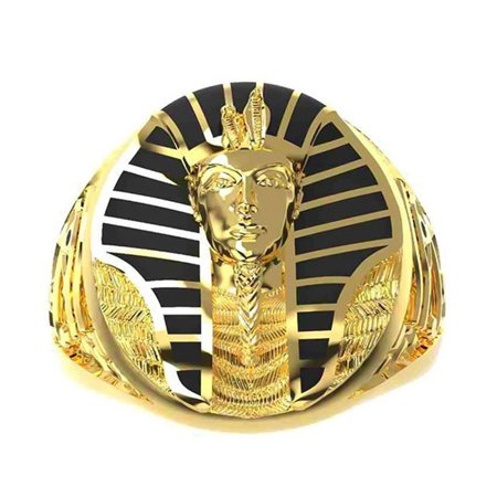 AkoaDa Big Round Gold Sphinx Pattern Finger Rings For Men Women Fashion Jewelry Lion Body Human Face Five Cents Coin Ring 10 Cent Golf Balls