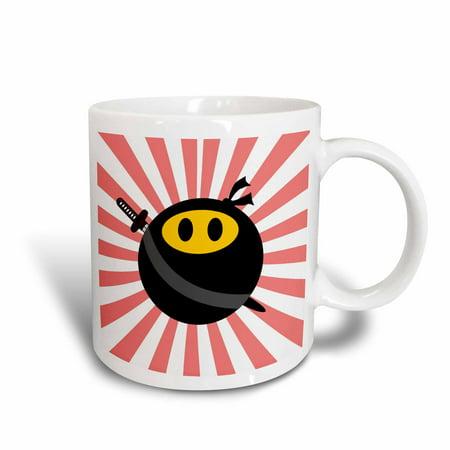 3dRose Ninja smiley face - masked yellow happy face - black mask and sword - Japan red sunburst - starburst, Ceramic Mug, - Starburst Reds