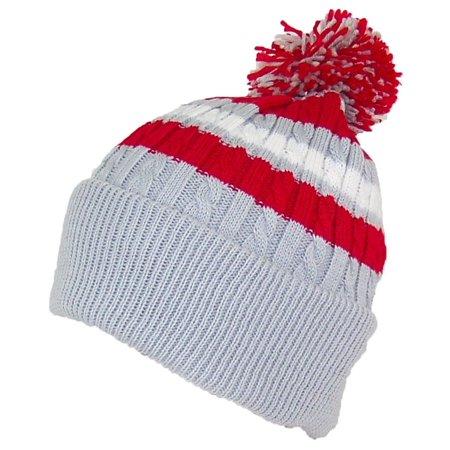 Best Winter Hats Quality Cable Knit Cuffed Winter Hat W/Large Pom Pom (One Size)(Fits Large Heads) - Light