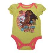 "Disney Baby Girls Yellow Coral Moana ""Island Cutie"" Print Bodysuit 3-6M"